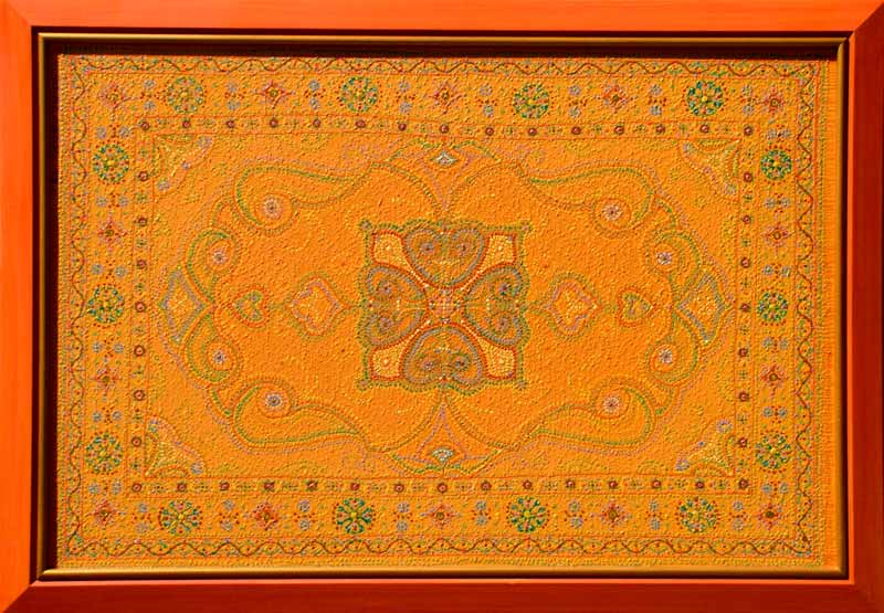 oriental carpet inspired contemporary painting original artwork