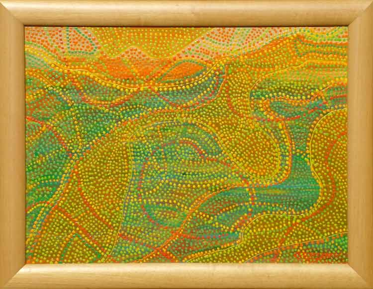 sunrise Australian Aboriginal art inspired dot painting