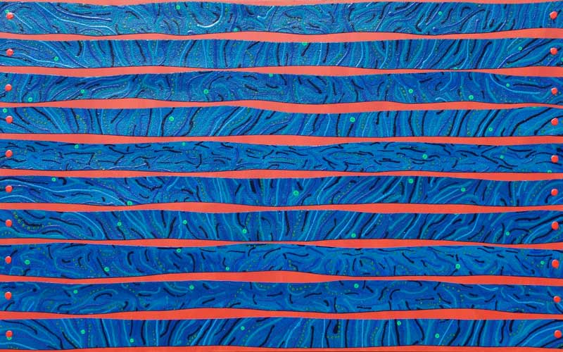 strip the stripes acrylic mixed media art abstract painting