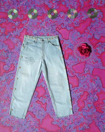 Angry Andeson's signed jeans donated to jeans4genes charity art auction original acrylic art painting
