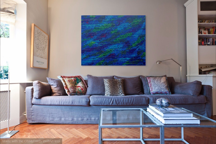 raining colours remembered acrylic abstract blue art painting on wall