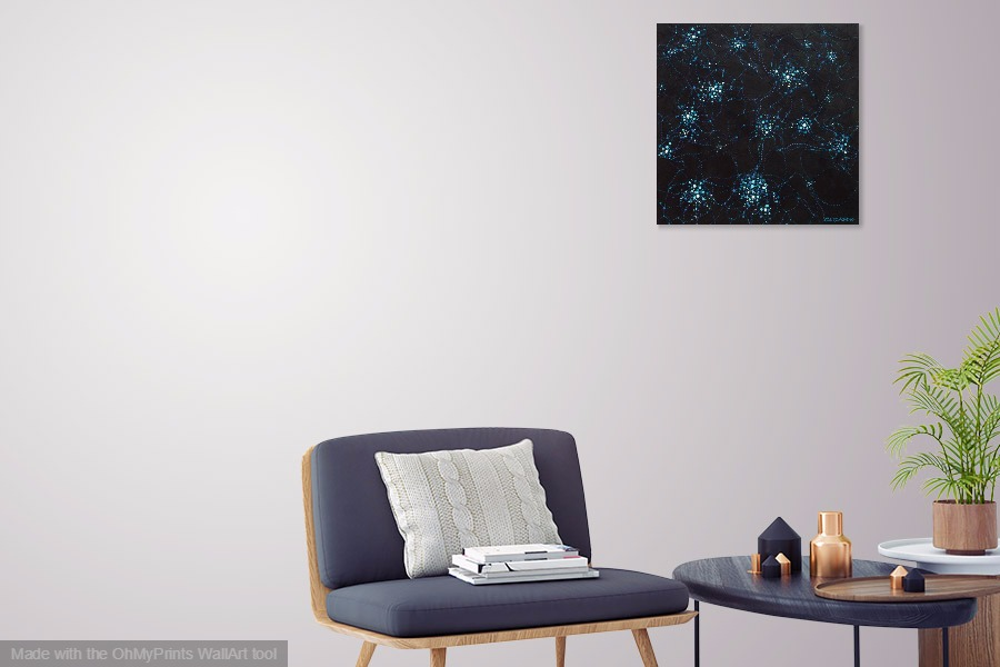 star clusters astronomical galaxy original contemporary abstract painting on wall