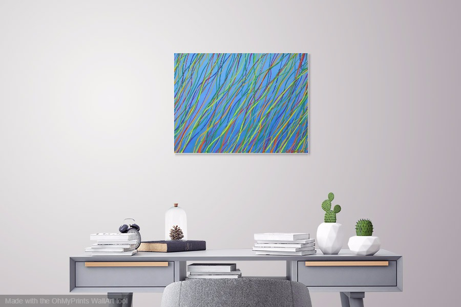 regeneration original abstract flora inspired painting on wall