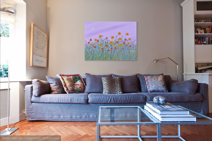 wildflowers acrylic impressionist floral painting on wall